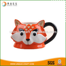 Colorful fox shaped ceramic mug mark cup with painting
