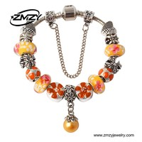 Fashion Jewelry Pearl Charm Bracelets & Bangles Orange Glass European Beads fits Murano Bracelets for Women Gift