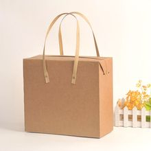 Custom square bottom brown paper shopping kraft paper gift bag