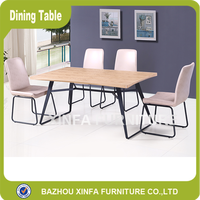 BAZHOU XINFA Industrial Fancy 6 Person MDF Wooden Top Coffee Shop Dining Table