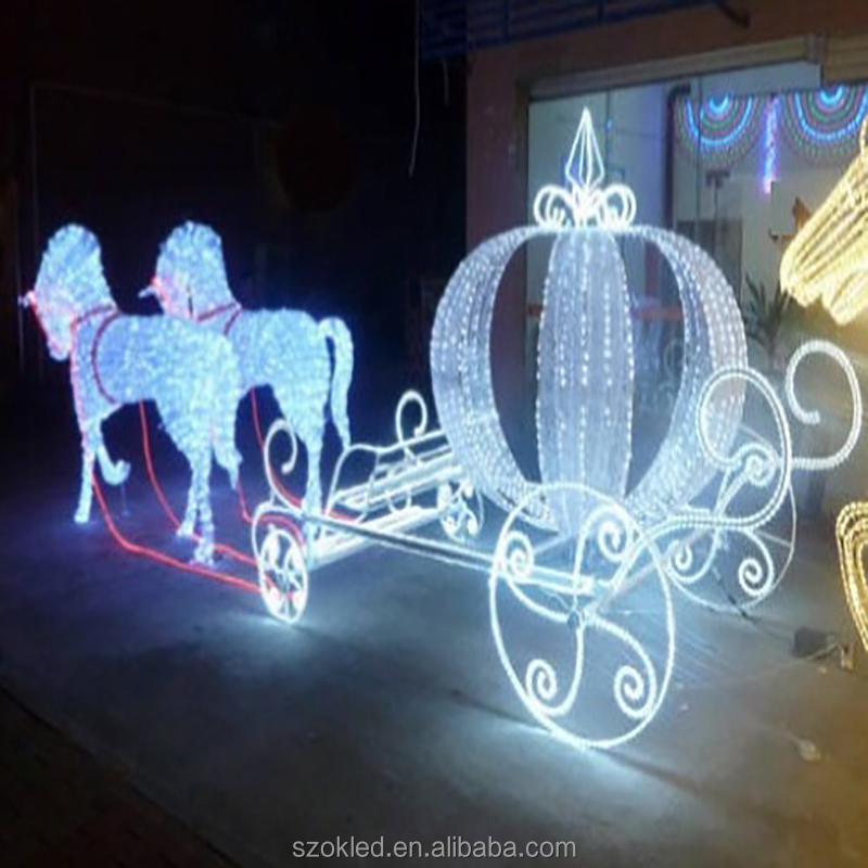 horse carriages led outdoor Christmas light sculptures led 3D deer motif light for Shopping Mall Decoration