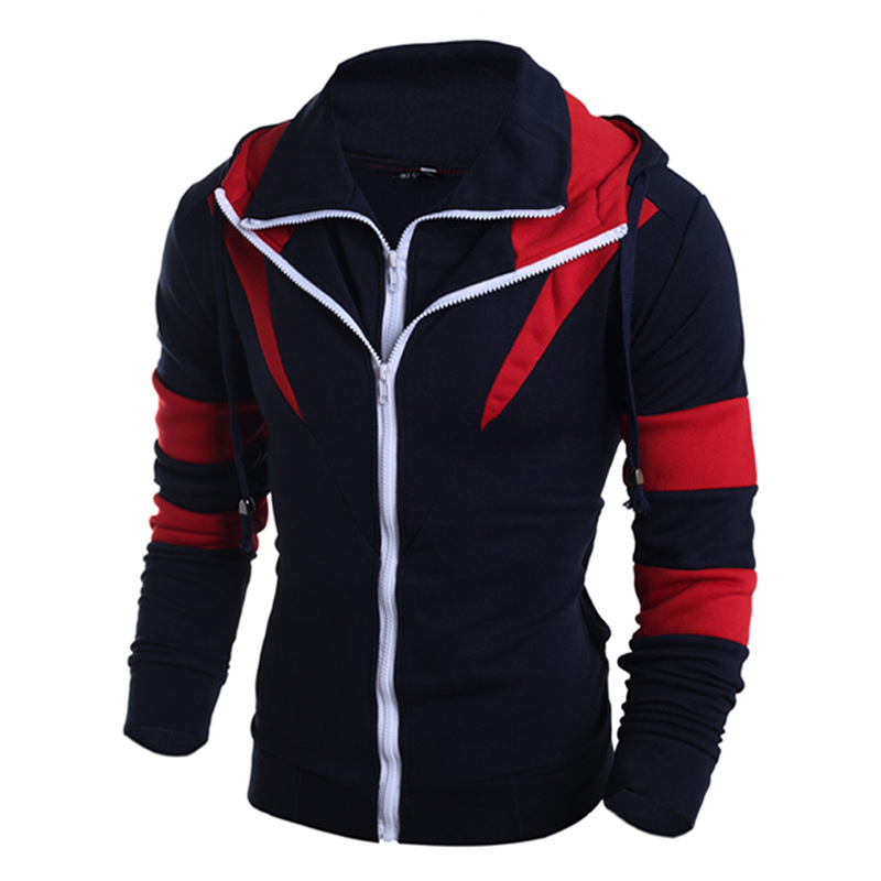 new men clothing color matching double zipper hoodies korean style men's apparel