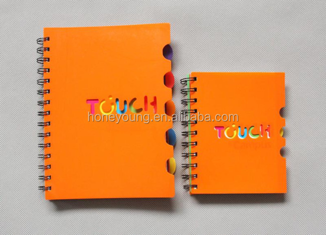cheap colorful new style pp spiral notebook with divider