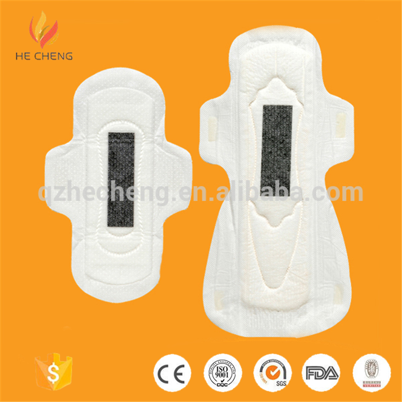 Low cost disposable cotton feminine sanitary napkin with negative ion