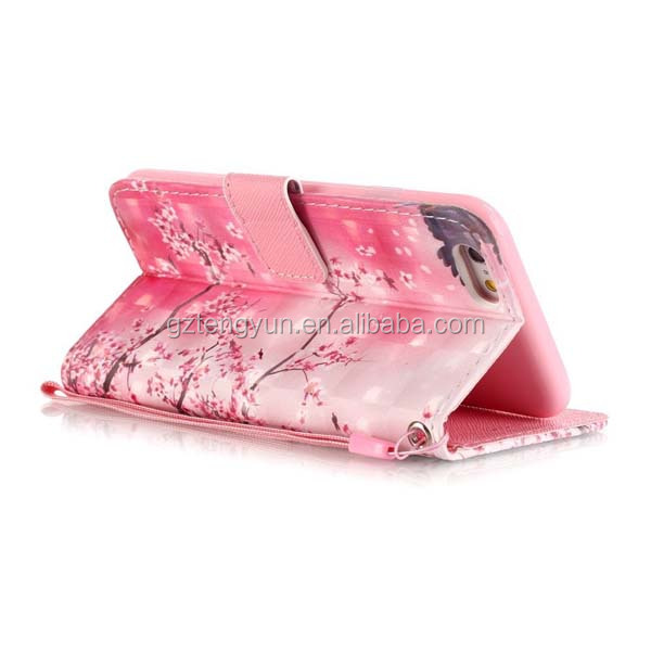 Girl Fancy Design Printed pink Flower Flip Foldable PU Leather Cell Phone Cover Case for iphone