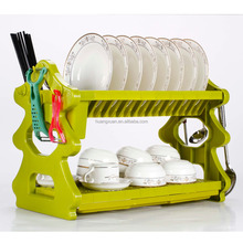Good quality Colored Folding Hanging Drying Dish Rack Plate Storage Kitchen Rack 2 Tier Plastic Dish Rack With Tray