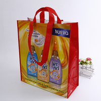OEM yellow colorful printed fashion promotional gift foldable pp laminated non woven shopping bag with customized logo