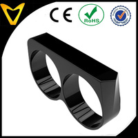 Vlink jewelry 8mm black coated dual finger band,index & middle finger titanium double ring design