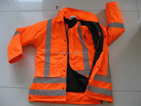 work wear reflective Safety reversible Rain long jacket With Reflective Tape