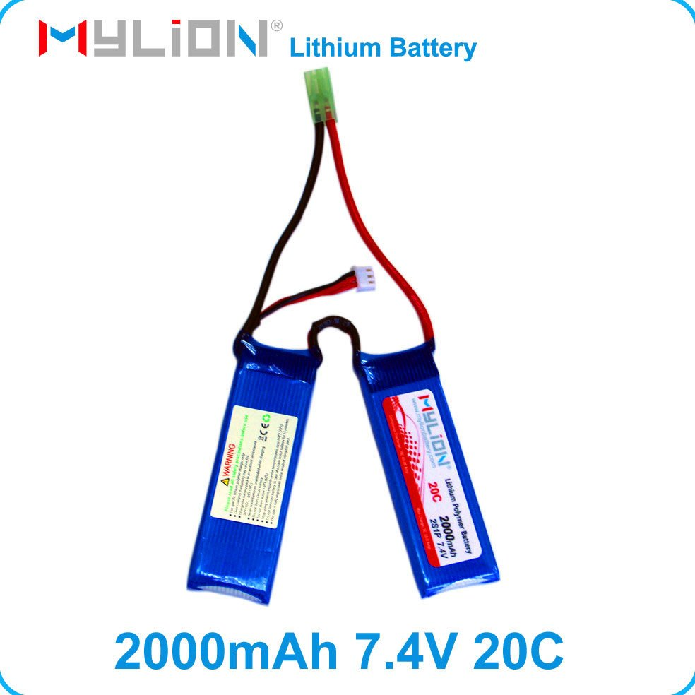 Promotion Free Shipping Rechargeable RC Lipo Battery 7.4V 2000mah Butterfly battery For Airsoft Gun from China Factory