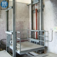 Outdoor and indoor stationary lead rail freight elevator / hydraulic warehouse cargo lift price