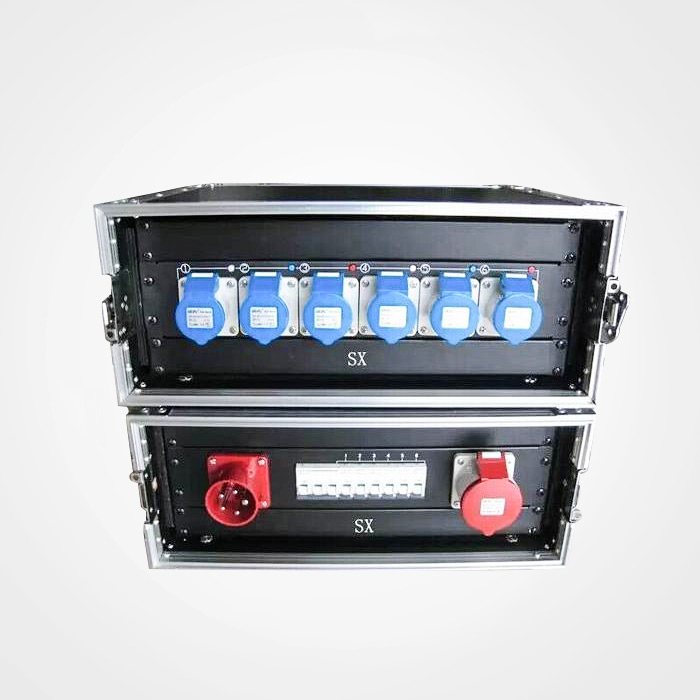 Multi power extension electric distribution box rack with distribution board