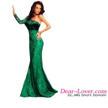 Evening Dresses 2016 Dear lover One Shoulder Lace Mermaid emerald green dress long