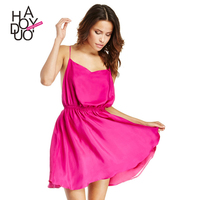 HAODUOYI Cross Back A-line Dress Women Spaghetti Strap Mini Dress Female Sleeveless Party Dress For Wholesale