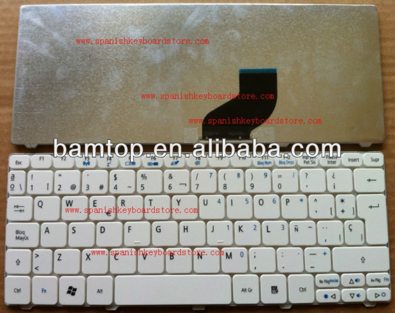 for acer Aspire one 532h d255 d260 white Spanish/SP Laptop keyboard