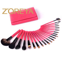 Stock Wholesale 22pcs Private Label Zoreya Goat Hair Pinkling PU Bag Professional Cosmetic Makeup Brush Set