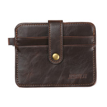 Novelty Credit Card Holder / Mens Card Holder with button / Leather Creditcard Wallet