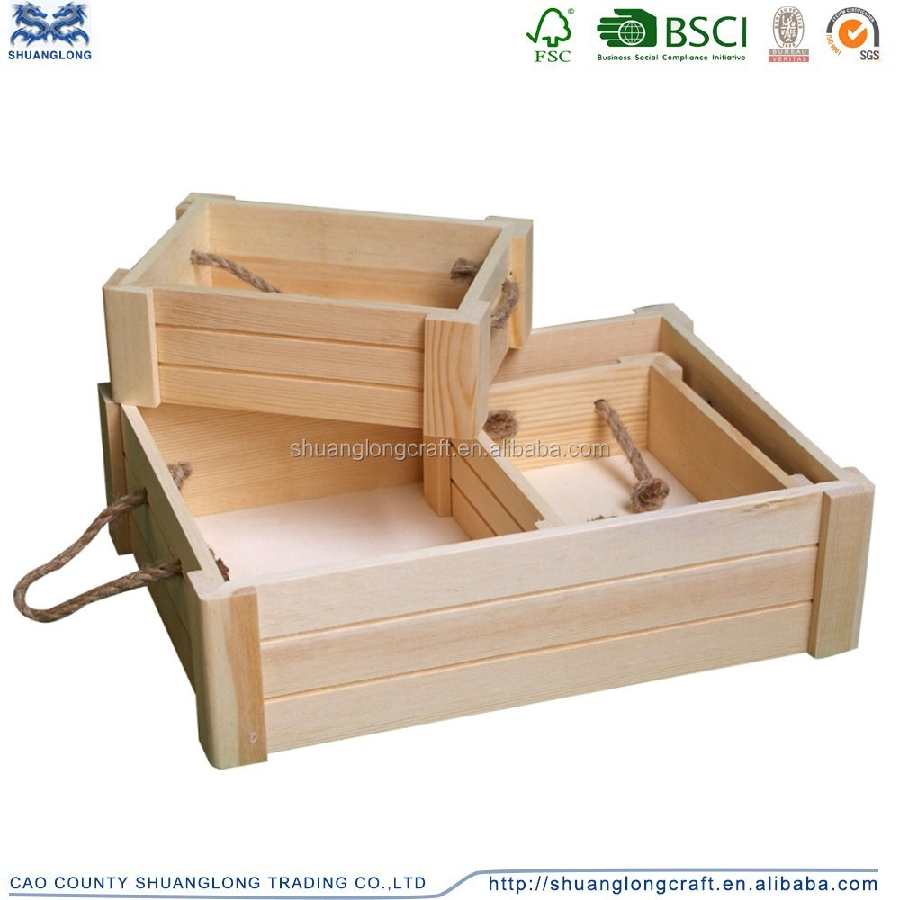 Unfinished Natural Pine Wood Fruit Tray with Handle Ropes