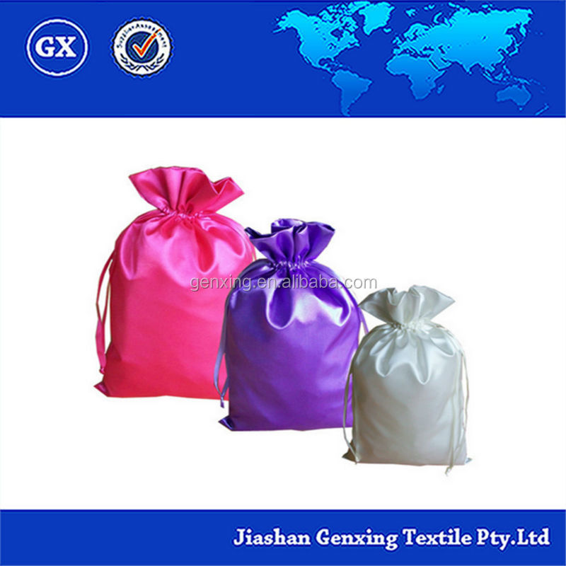 Drawstring pouch Gift Packing satin fabric bags OEM