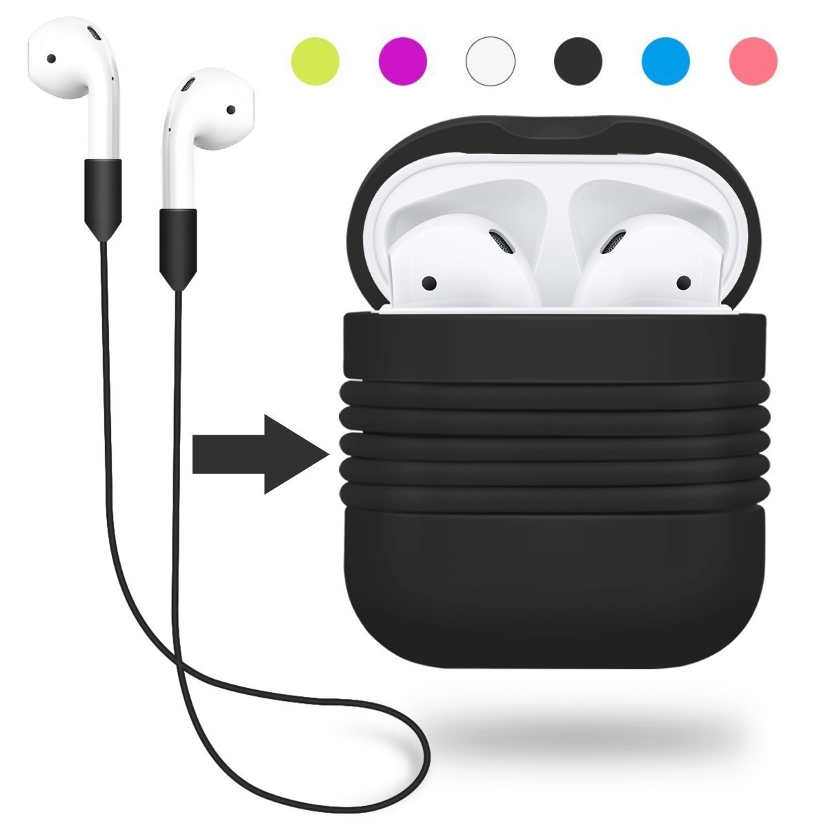 Bestyou Protective Carrying Case Bag for Apple AirPod Shockproof Silicone Cover Accessories Skin with Anti-lost Strap