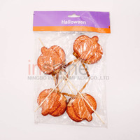 Halloween pumpkin shaped floral styrofoam pick , decorative glitter floral picks