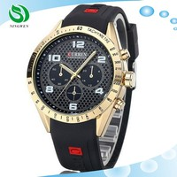 Alibaba China Men Luxury Brand Black Military Wrist Quartz Fashion Casual Curren Wrist Sport branded Silicon Watch