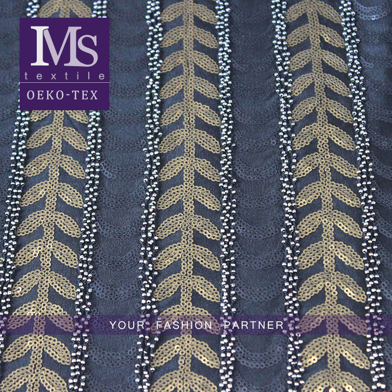 Trendy heavy beaded sequined embroideries lace fabric have stock available