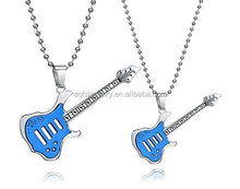 [ Get free necklace ] fashion stainless steel musical note guitar pick pendant hiphop jewelry necklace for music lovers
