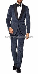 Custom Made Fashion Wool Blue Plain Tuxedo with Single-Button and Satin Lapel