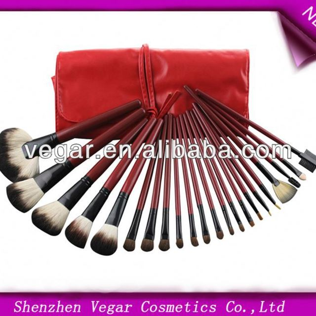 22pcs Red Make up Mineral Brushes goat hair makeup brushes