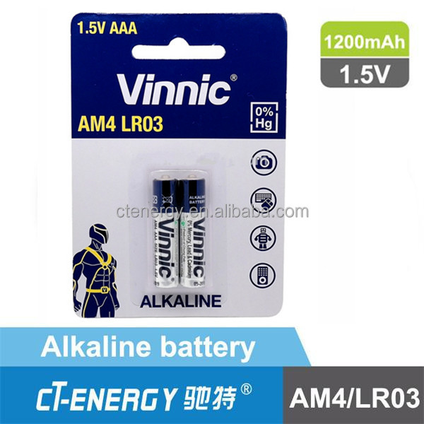 Environmentally friendly alkaline battery for electronics AAAA
