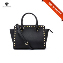 Saffiano Grain Genuine Leather Fashion Bag Ladies/Studs Handmade Bag