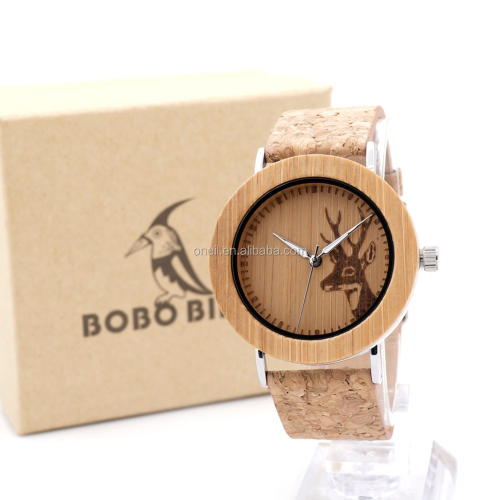 Engraved logo Natural Wooden Watches With Genuine Cowhide Leather Lovers Luxury Wristwatch as Gifts