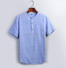 mens linen cotton stand up collar short sleeve casual shirts