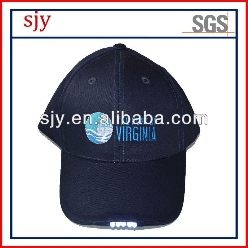 Flashing light 6panel high quality baseball LED cap