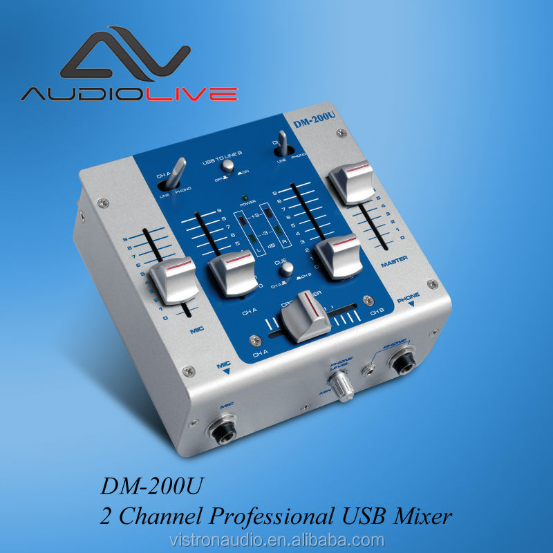 OEM ODM supply DM-200U 2+2- Channel Professional USB Mixer / Audio Interface with dj equipment