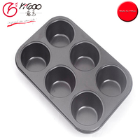 101067 food safe non stick Round 6cup Muffin Cake Tray/Cupcake Pan