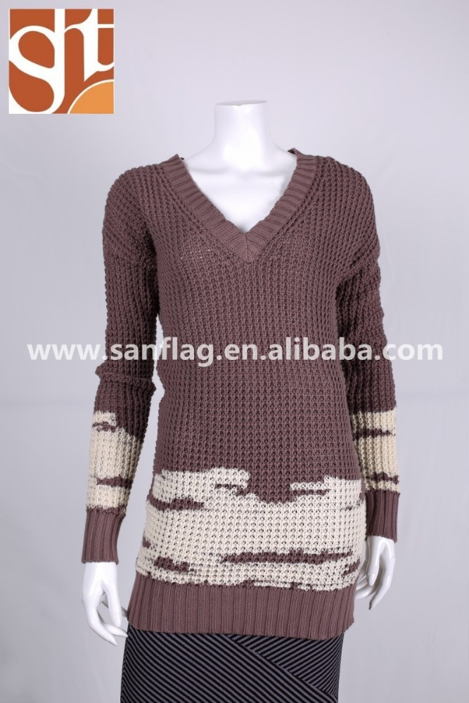 Newest custom ladies' V neck long sleeve dress muslin knitted sweater with jacquard unique products to sell made in china