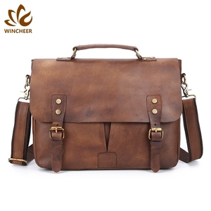 China manufacturer supply 13 inch computer messenger bags handmade men brown briefcase leather business bag