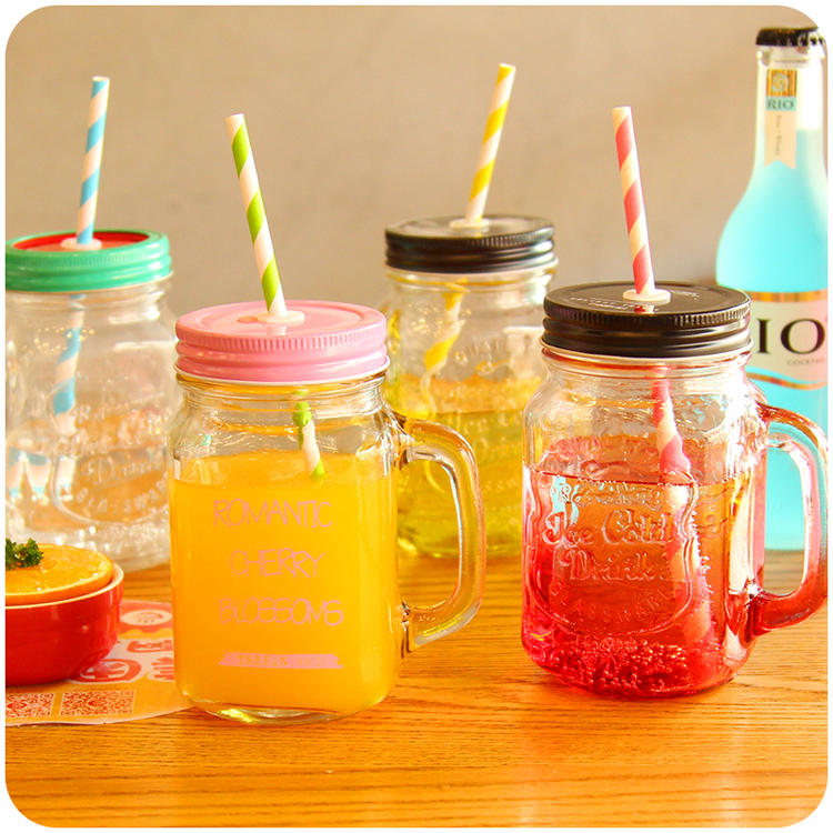 factory wholesale mason jar glass mason jar with handle 450ml 350ml OEM open new mold color painting