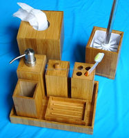 wood and bamboo bathroom accessories set, bamboo tissue box, wood tray