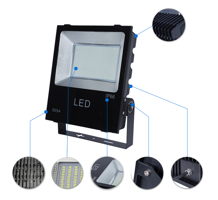 Black led floodlight 100w led flood light super bright waterproof outdoor led light with photocell