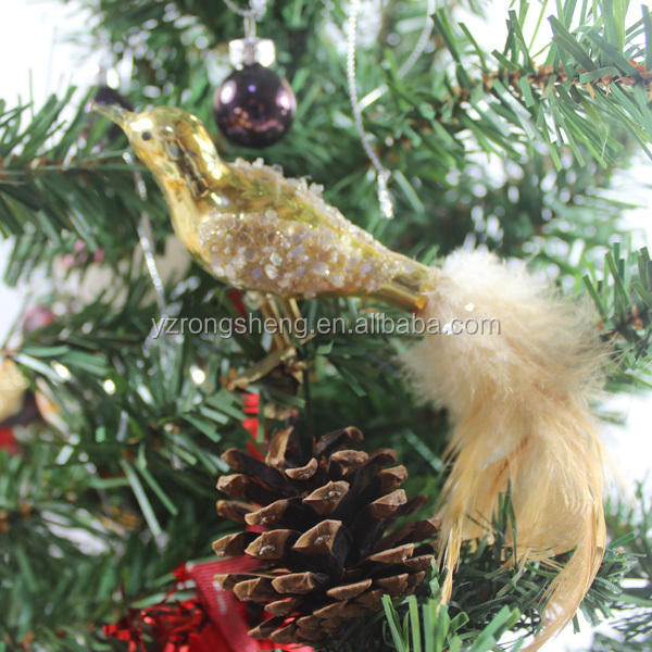 christmas tree decoration glass ornaments birds with long tail