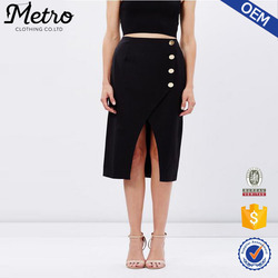 Slim Fit Lady Split Front Wrap Skirt Black Wholesale