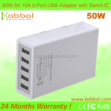 50W Multi Port USB Charger Rapid USB Charger for Android Tablets and Smartphones