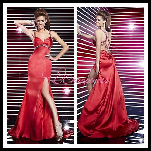 wedding gowns red satin sexy long prom dress