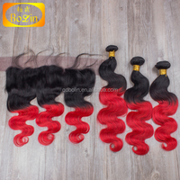 Brazilian Virgin Hair Best Quality Ombre #1b/Red Ombre Hair Extensions Human Hair Weaves body wave