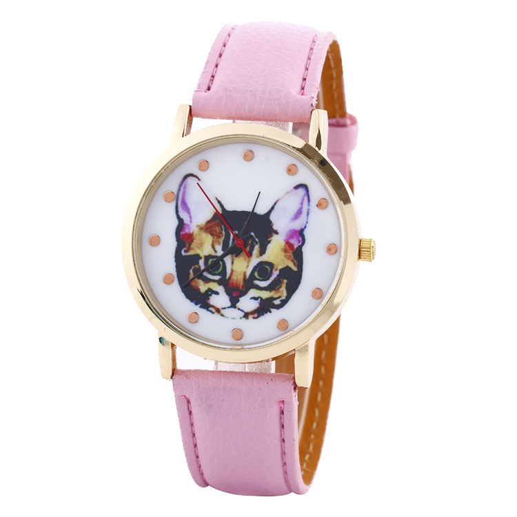 Cat Face Watch Women Geneva Watches Men PU Leather Band Analog Quartz Big Dial Clock Wrist Watch