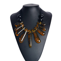 Europe and the United States big amber resin stone pendant woven necklace