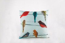 100%liene cloth pillow case/ bird printed pillow cover/square throw pillow cases